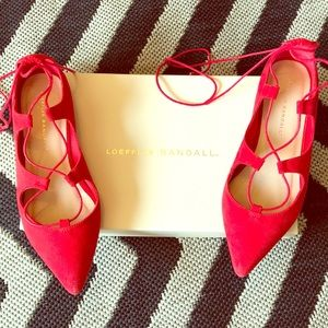 Loeffler Randall red suede lace up flats